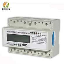 Three phase din rail multi-rate lcd multifunction electric power monitor energy meter with rs485 modbus
