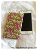 Seed bead crocheted phone case Galaxy S3/S4/S5 bag pouch green and pinkvintage royal lily pattern