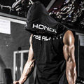 wholesale men clothing fitness casual sleeveless gym hoodie tank