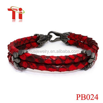 Aohua genuine python bracelet men high class red python cord for watch lovers, custom bracelet leather to python skin
