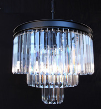 Odeon Crystal Glass Fringe 3 tiers Chandelier Light