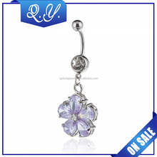 Charm navel piercing jewelry zircon dangle belly button ring