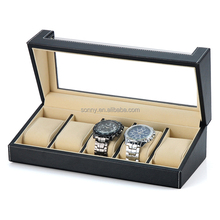 Acrylic Window Leather Watch Gift Box for 5 Watches Packing