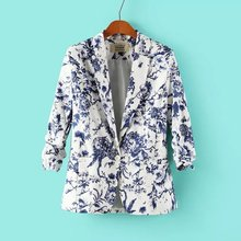 Wholesale Women Blue White Porcelain Printed One Button Suits