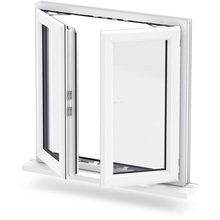 Double sash inward opening casement aluminum window