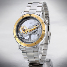 Stainless Steel men's skeleton automatic watch self wind transparent mechanical watch