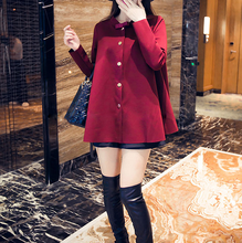 W70934G new design loose women coat woman ladies top with collar with small bowknot thin coats
