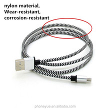 black metal alloy nylon braided low profile usb to micro usb cable for android