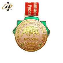 Hot selling products zinc alloy casting antique bronze gold plated weight lifting medal and trophies