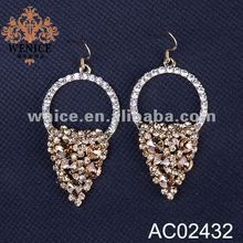 2012 fishing hook earring with crystal&glass