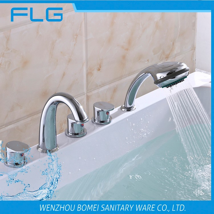 High Quality Product FLG610 Lead Free Chrome Finished Cold&Hot Water 5 PCS Bathtub 5 Holes Shower Faucet set