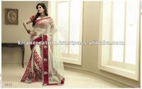 Cream Color with Red Border Netted Work saree