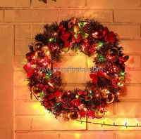 2016 new lighted outdoor pvc christmas wreath colors for cheap