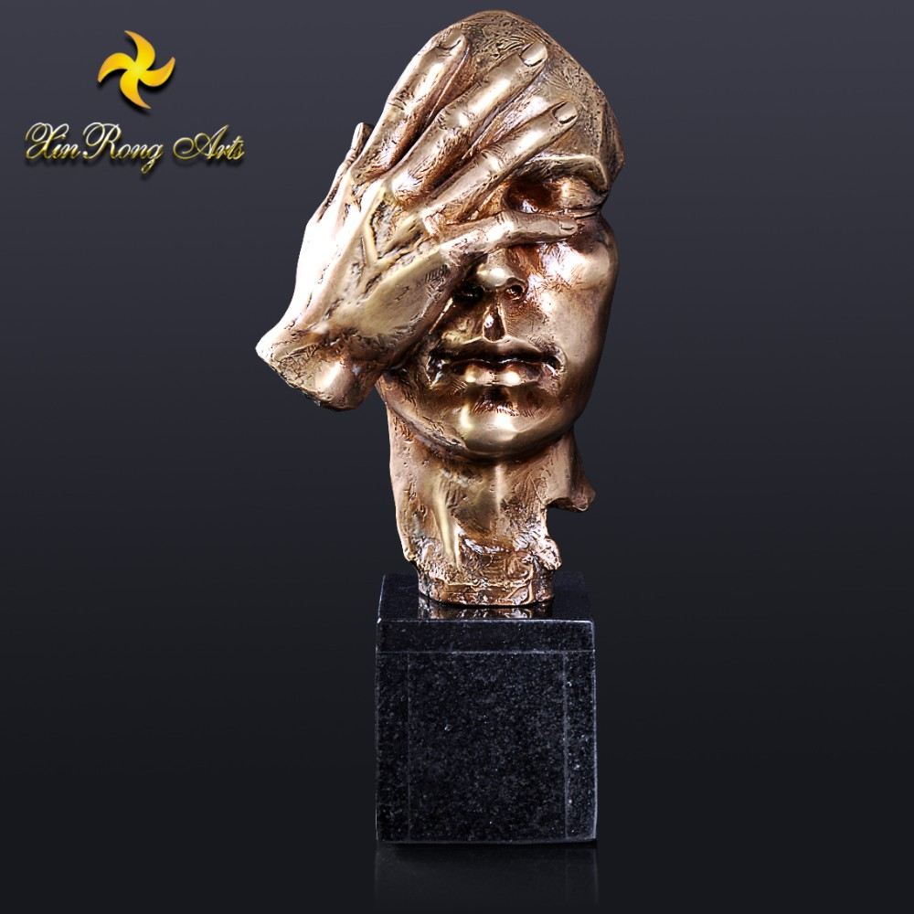 Nouveau art abstract man face bronze sculpture with marble base