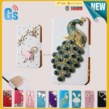 Peacock flip diamond bling leather case for samsung galaxy s4 i9500