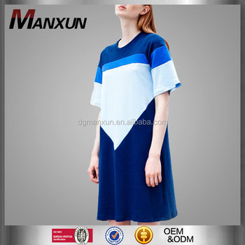 Wholesale Custom Women's High Quality Short Sleeve Jersey Dress Sport T-Shirt Color Block Over Sized Tshirt Dress
