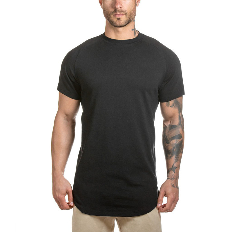 New fashion no moq men sexy longline blank scoop men's gym <strong>t</strong> <strong>shirt</strong>