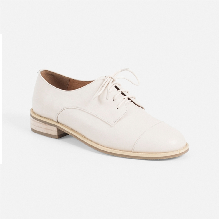 T006 White leather loafer girl school shoes flat leisure shoe