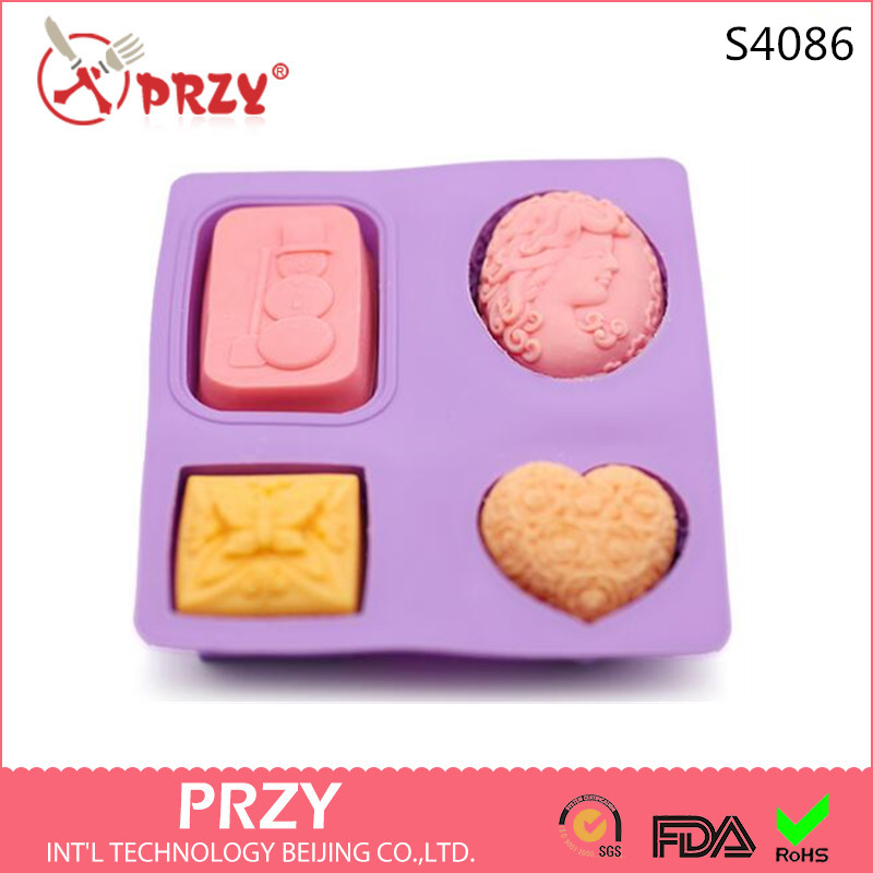 S4086 PRZY 4 handmade soap roses Butterfly silicone mold snowman love Mona Lisa even combinations