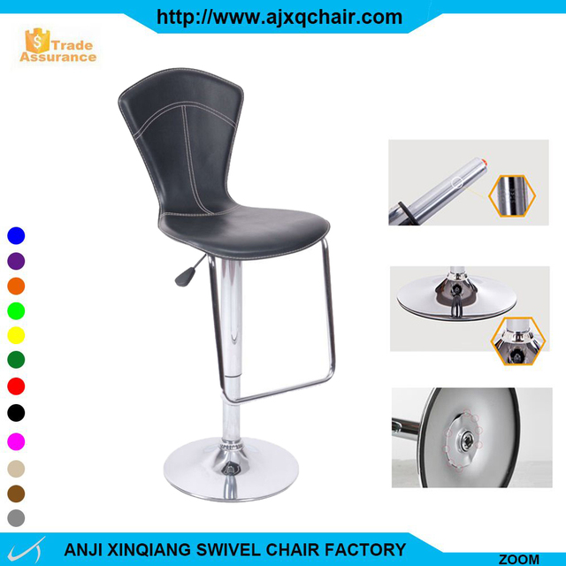 XQ-301 Comfortable Cheap Swivel Industrial Furniture Footrest Cover Bar Stool With High Back PVC Leather Bar Chair