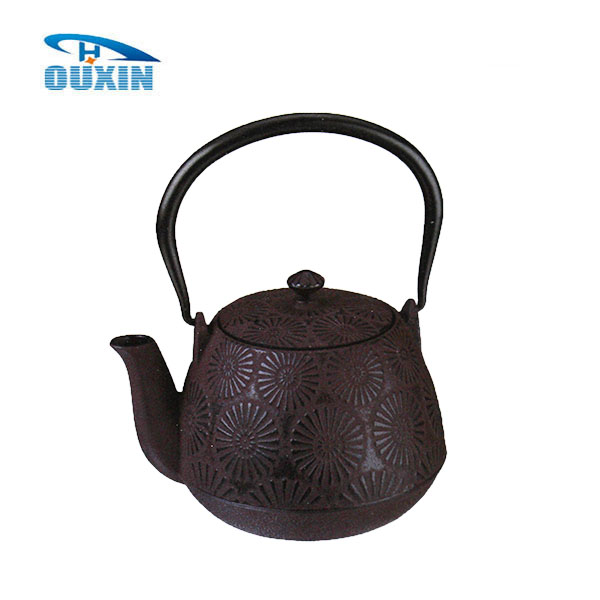 0.9L Antique Metal Cast Iron Sunflower Teapot Brown