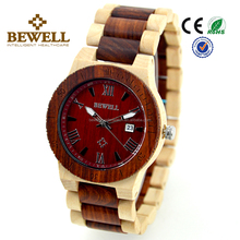 Bewell new design wooden watches luxury watch day and date play