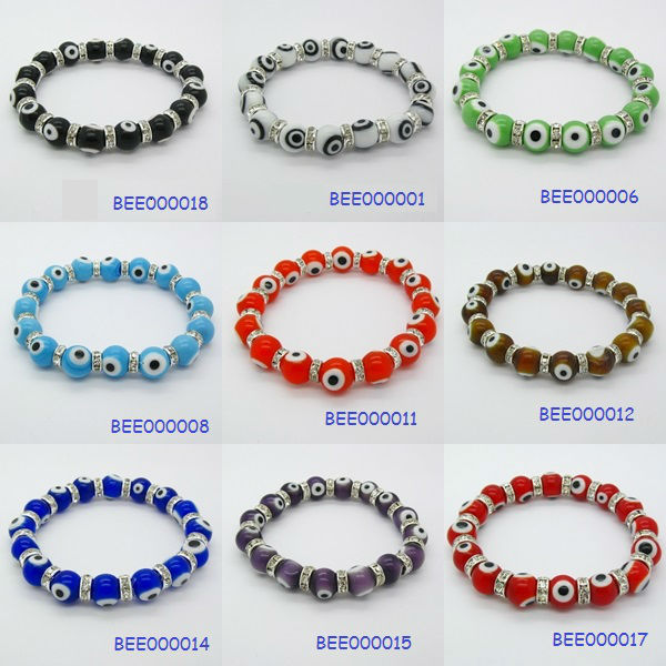 Lucky 10 mm evil eye CZ elastic bracelet