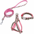 Leopard Pet Leash Collar Harness Set
