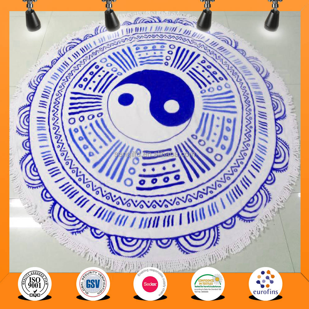 China wholesale super cheap Extra Large Custom Printed Round Beach Towel with Tassels