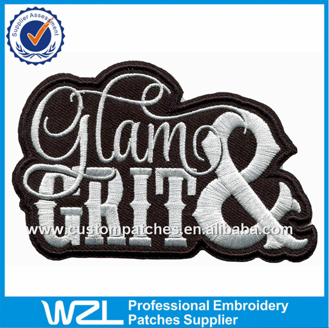 High temperature press patch with iron on backing, heat embroidery letters patches design