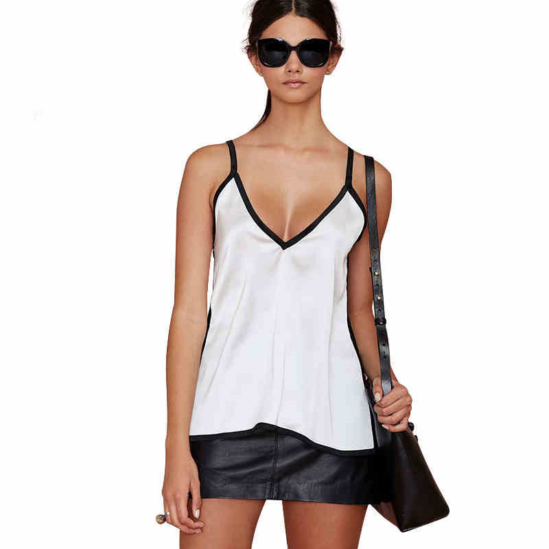 Simple black and white color deep V collar with a sexy off-the-shoulder vest