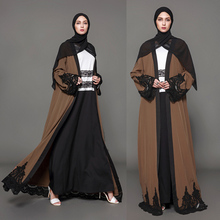 Women open abaya collection Arabic Dubai thobe dress islamic cheap lace muslim dress clothing with scarf hijab lace abaya dress