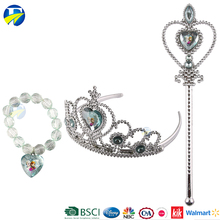 F J brand wholesale baby crown kids gift set silver hair accessories plastic princess tiaras crowns