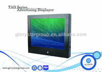 15 inch OEM push button loop video AD player LCD monitor with wall mounted
