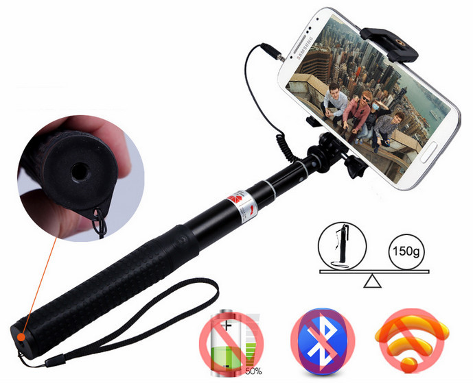 Top Quality wholesale selfie stick with cable, cable take pole selfie stick