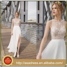 ZT03 Hot Sale See Through Handmade Beads Front Slit Open Back Fashion Wedding Dresses