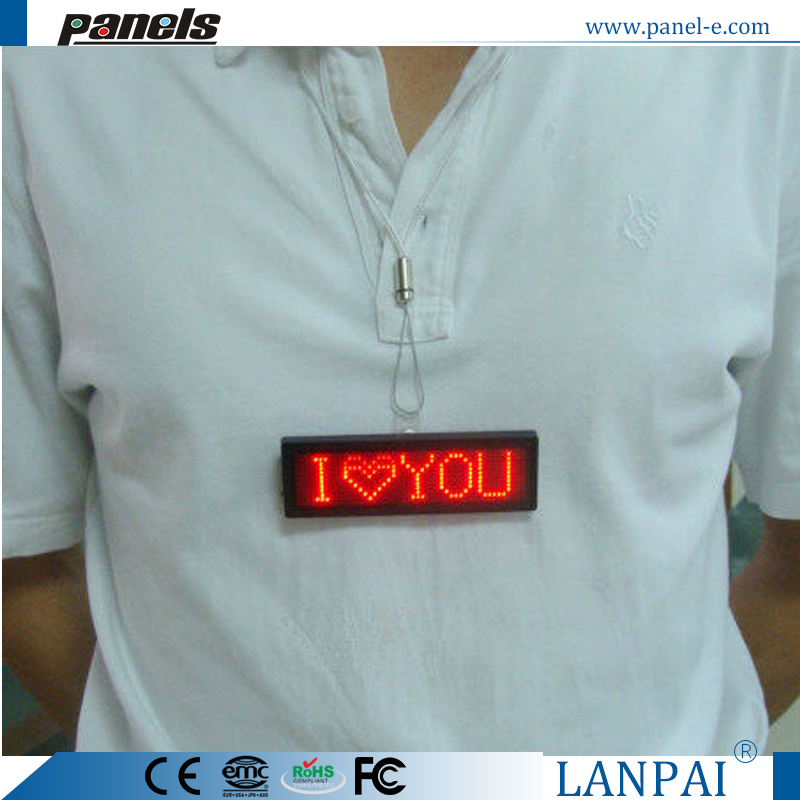 "LANPAI 1.5""X4"" Factory price Programmable LED scrolling message Badge"