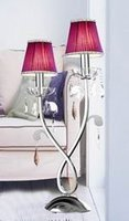 European style 2-lite iron table lamp crystal with 2 fabric shades