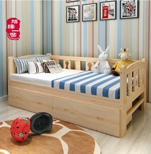 Factory price solid wood child couch bed baby cot with drawers