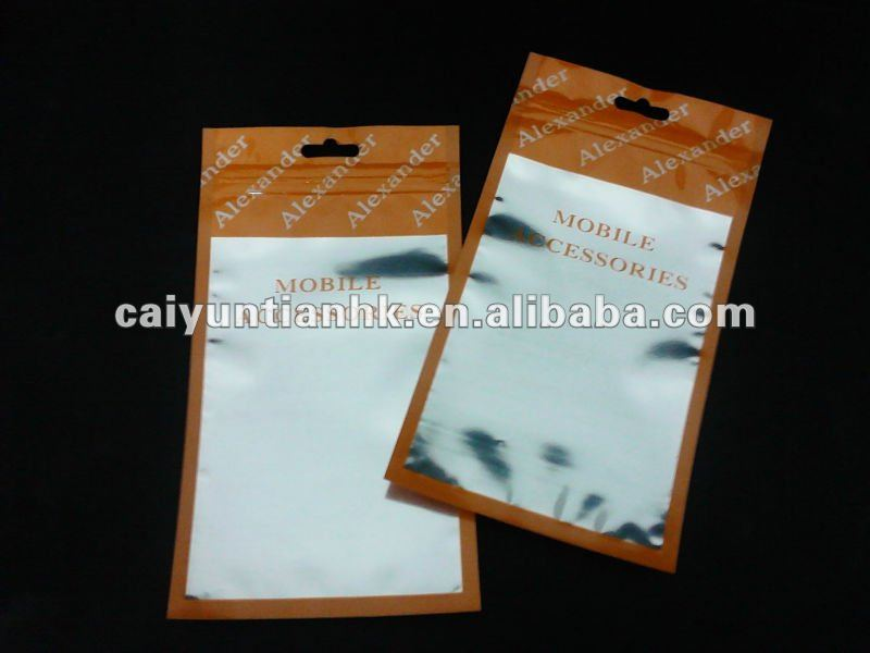 mobile phone covers and accessories packaging bag with hook hole and zipper