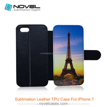 china customized sublimation tpu flip leather phone case for iphone 7/iPhone 8