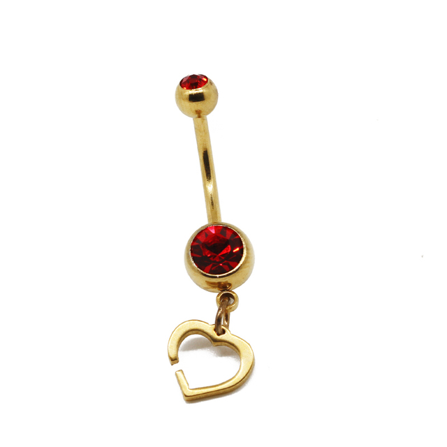 Girl like heart shaped navel of beautiful gems piercing body jewelry