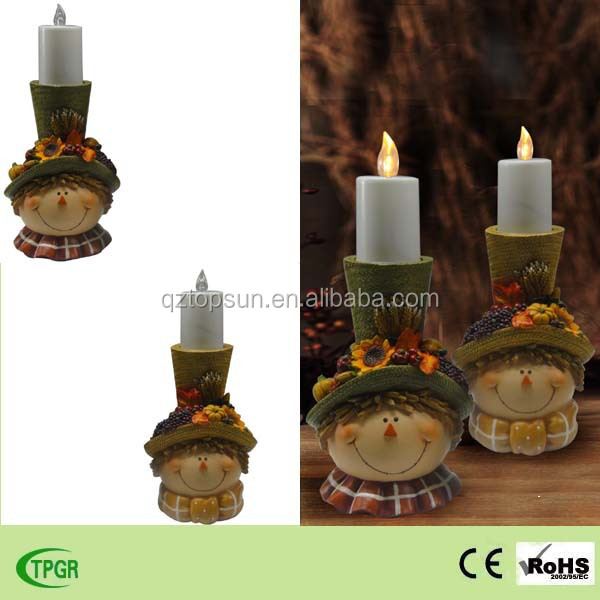 Polyresin jackstraw Harvest Festival with candle led light