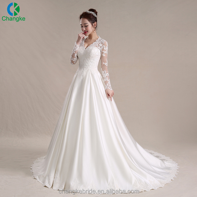High quality new fashion long sleeve bride gowns long fishtail white wedding dress 2018