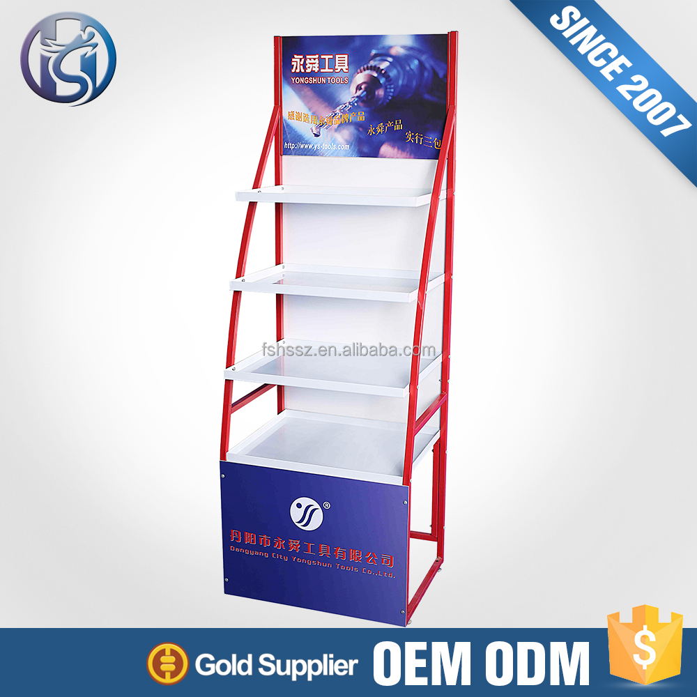 China Factory Red And White Color Potato Chips Metal Display Rack