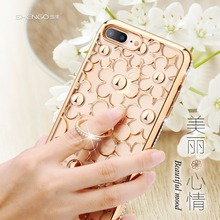 SHENGO Shiny Glitter 3D Texture Fashion 360 Degree Rotatable Soft TPU Crystal Ring Holder Phone Case