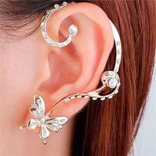 Ear Cuff Wrap Earrings Clip On Stud Set For Left Ear Butterfly Gold Plated Clear Rhinestone W/ Stoppers 56mm x 46mm