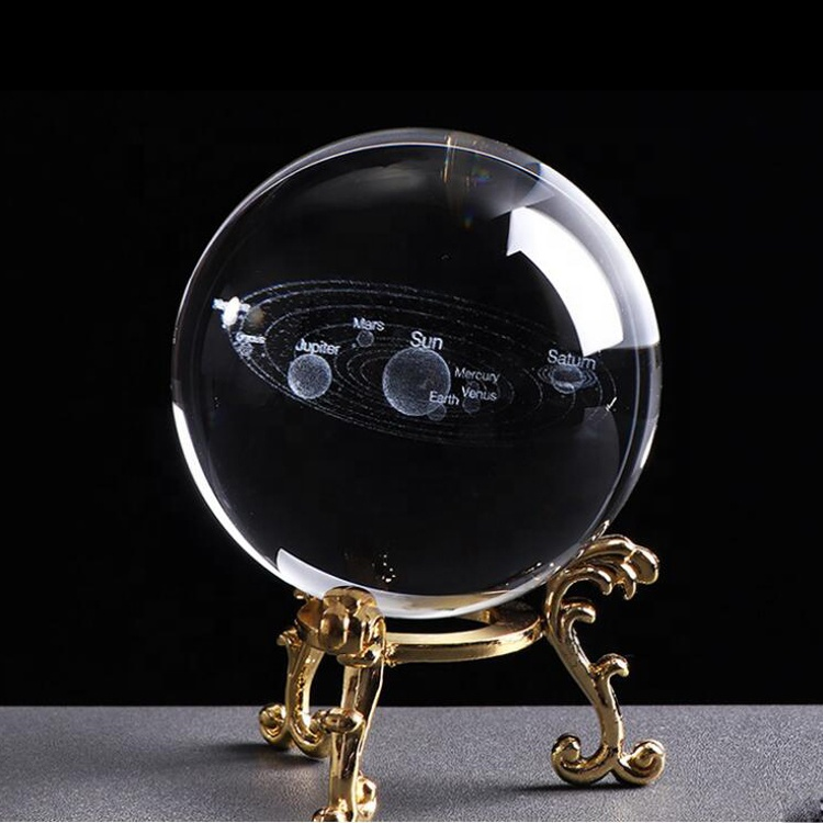 Transparent personalized 3D laser engraving Galaxy solar system crystal ball and bracket commemorative gift