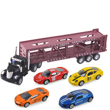 2018 OEM custom truck with cars large diecast model container truck trailer alloy truck model diecast