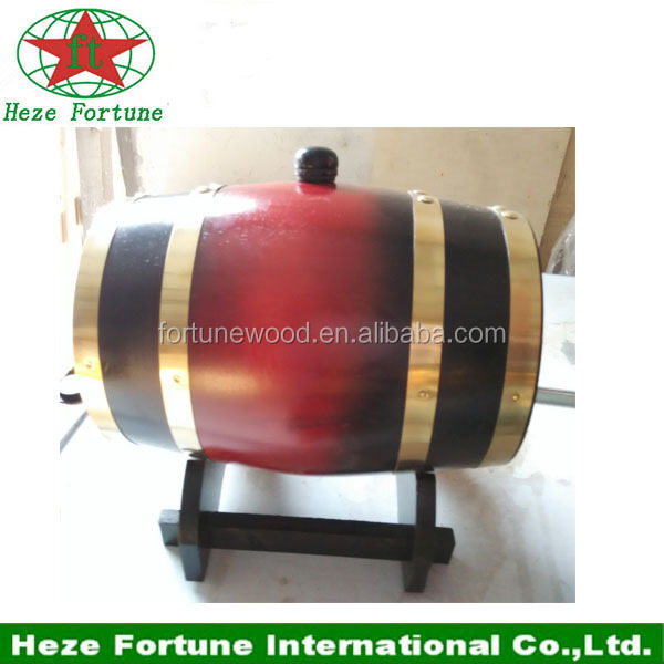 Red color oak barrel for wine packaging